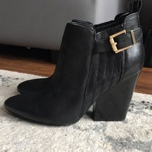 Guess Leather Booties, Gold Details, Like New 7.5